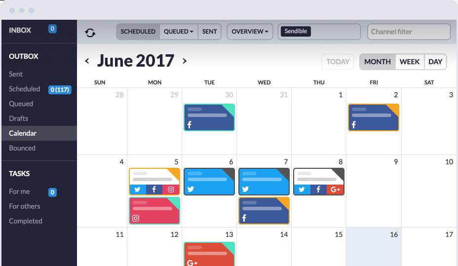 Sendible social media calendar
