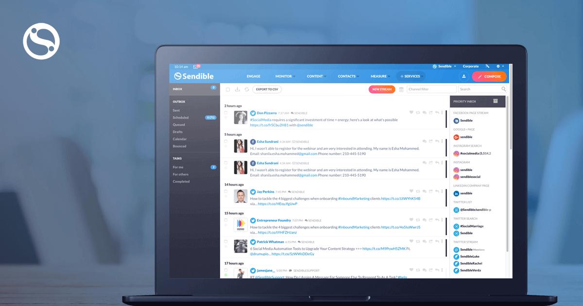 Sensible's social media dashboard